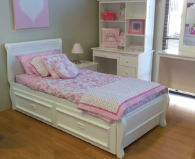 copenhagen trundle bed is made from pine and finished in low gloss white finish the
