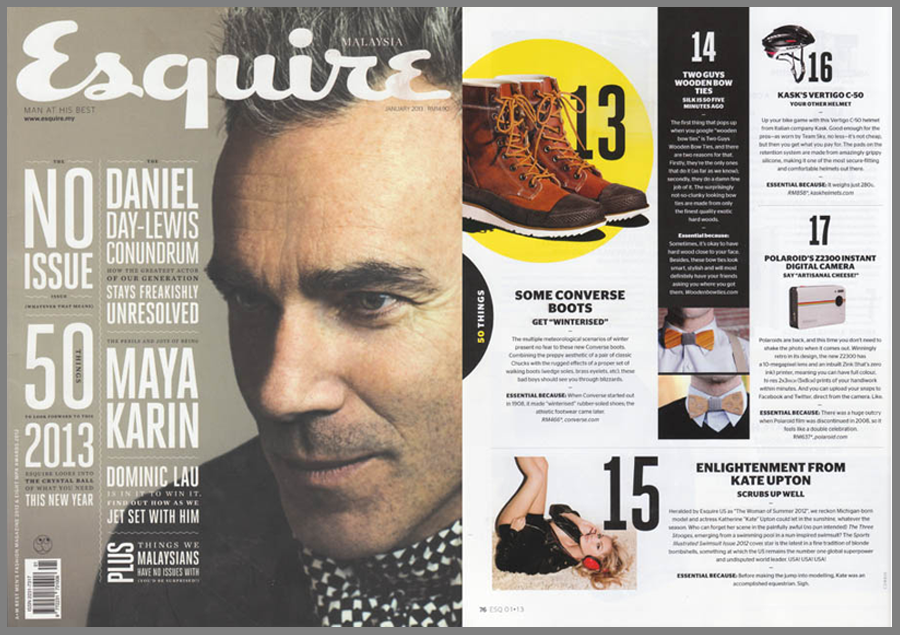 Esquire features Two Guys Bow Ties Company.