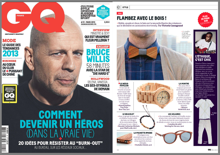 GQ gives a comment about the latest trend, wooden bow ties