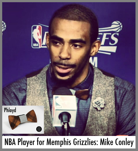 Mike Conley sports a wooden bow tie at his interview.
