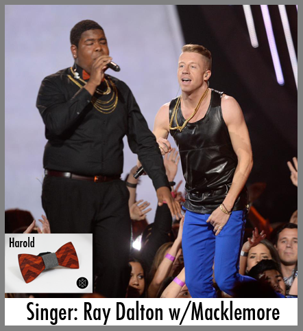 Singer Ray Dalton wears a wooden bow tie at the MTV movie awards.