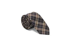 Navy and Tan Tartan Plaid - Neck Tie