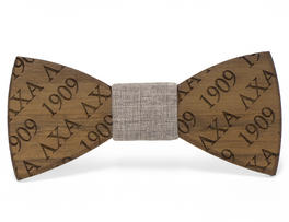 Walnut Bowtie with Custom Fraternity Letters & Custom Founding Date