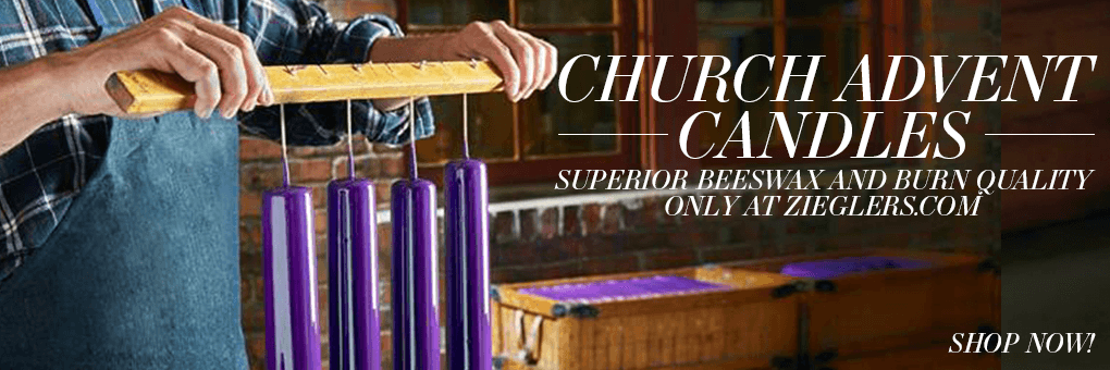 2017 Church Advent Altar Candles in purple blue pink made of the finest beeswax and with amazing burn quality only at Zieglers Church Supply Catholic Store Banner