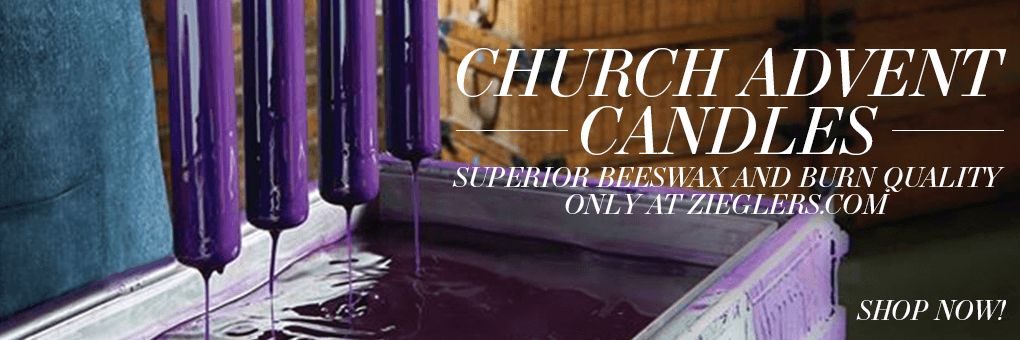 Church Advent Altar Candles in purple blue pink made of the finest beeswax and with amazing burn quality only at Zieglers Church Supply Store