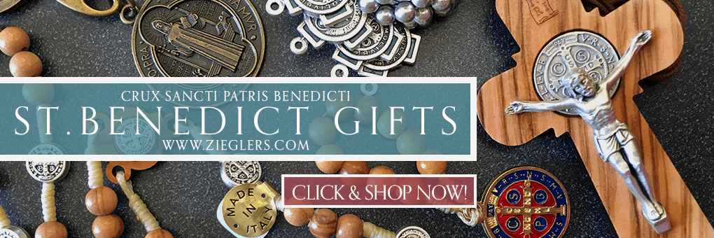 Shop for Saint Benedict gifts like rosaries crosses crucifix art and statues at Zieglers Catholic Store