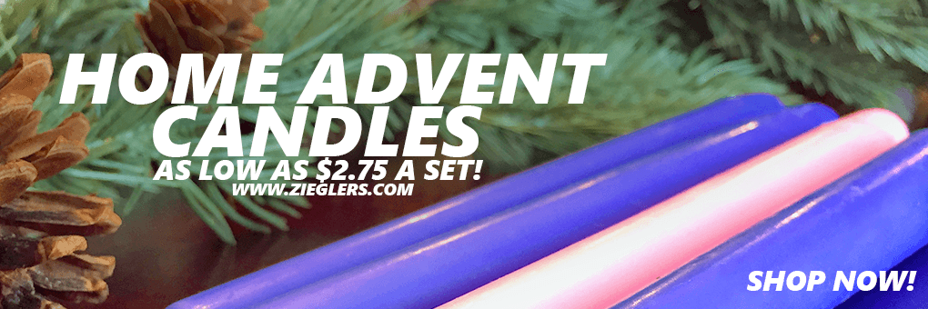 Advent Candles for home DIY projects and church projects for your advent wreath at Zieglers Catholic Store