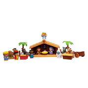 18 Piece Childrens Nativity Fisher Price Little People Set Baby Jesus Mary Joseph Angel 3 Kings Musical Manger 5 Animals Cart Food and 2 Connectable Palm Trees with Stable Manger requires 3 AA Batteries Not Included SPRNAT