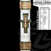 Buy Paschal Candle Cross of Saint Francis design For Easter by Cathedral Candle 51 percent beeswax Sculptwax collection in variety of size CC80865