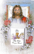 First Communion Greeting Card front features image of Christ with Removable prayer book measures 4 by 6 inches RI111037