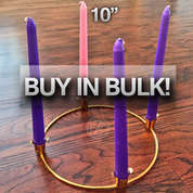 Home Advent Wreath Set with Brass Ring Including 4 FREE Stearine Candles 3 Purple 1 Pink Buy in Bulk Savings ADVENTSET