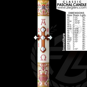 Buy Paschal Candle Investiture design For Easter by Cathedral Candle 51 percent beeswax Classic collection in variety of size CC80866