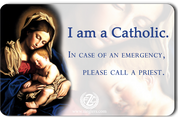 Catholic ID Card front reads I am a Catholic In case of an emergency please call a priest back has act of contrition measures 3 and 1 half by 2 inches ID