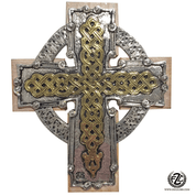 Celtic Cross Gold & Taupe Celtic Knot Design Cross Over Ring made of resin measures 3 and 3 quarters by 4 and 3 quarters inches ABA070