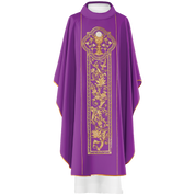 Gothic Chasuble with Gold Motif and gold embroidery of eucharist symbol in purple HF040P