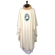 Official Year of Mercy Gothic Chasuble with Gold Collar and Hand Embroidered Logo