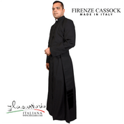 Black Cassock with 100 percent cool light breathable wool Firenze fabric with buttons Made In Italy Sartoria SARF