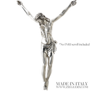Corpus Only For Cross and Crucifix Silver Plated Satin and High Polish combo Texture Made in Italy ZZ287C
