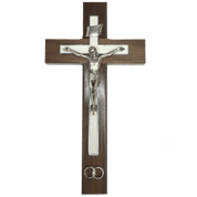 Wedding Crucifix for Marriage made with brown wood white pearl cream inlay metallic corpus and wedding rings JC7119E