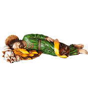 Official Sleeping Saint Joseph Rich Color Finish with color highlights made with Resin mentioned by Pope Francis