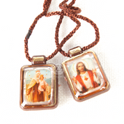 Small Brown Scapular with Sacred Heart of Jesus and Our lady of Mount Carmel in Plastic with Brown Cord RIMS256