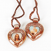 Heart Shaped Brown Scapular with Sacred Heart of Jesus and Our lady of Mount Carmel in Plastic with Brown Cord RIMS262