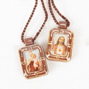 Small Brown Scapular with Sacred Heart of Jesus and Our lady of Mount Carmel in Plastic and Gold Edge Accents and Trim with Brown Cord RIMS261