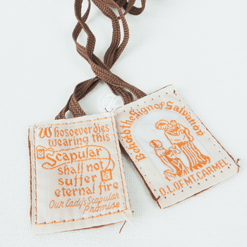 Our Lady of Mount Carmel Brown Scapular Washable Wool DVSCCLBN