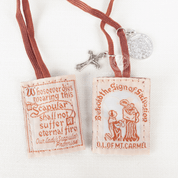 Our Lady of mount Carmel Brown Cloth Scapular with crucifix and st benedict medal made with wool with Scapular Promise and St Simon Stock RIPL870BRBE