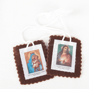 Hand made Our Lady of Mt Carmel Medium Brown Cloth Scapular with Sacred heart of Jesus and white cord made by original Carmelites HI1515