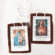 Hand made Our Lady of Mt Carmel Large Scapular Brown Cloth with Sacred heart of Jesus and white cord made by original Carmelites HI1516