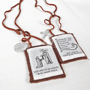 Hand made Brown Scapular wool cloth with st benedict medal and crucifix with Our Lady Mount Carmel and St Simon Stock with Brown Cord ZRW1008