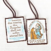 Our Lady of Mount Carmel Brown Scapular made of wool with Brown Cord shows Our Lady with Saint Simon and Our Lady's promise ABJSSCC