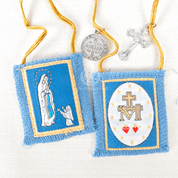 Our Lady of Lourdes Scapular with Blue wool Cloth yellow cord crucifix and st benedict and marian symbol ZRW1003