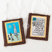 Our Lady of Fatima Scapular made of 100 percent Brown Wool on a White Cord ZR7796