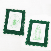 Green Scapular NO CORD SINGLE PIECE Wool Immaculate heart of mary miraculous medal MI004
