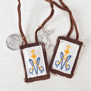 Auspice Maria Brown Scapular with marian Symbol made by hand 100 percent wool with crucifix and st benedict medal ZRW1014