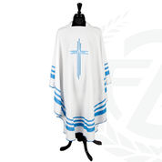 Mother Teresa Gothic Chasuble in Pure White and Blue 3 striped Sari with 100 percent Polyester and Square neck made in Italy exclusive to Zieglers Catholic Store