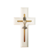 Blessed Sacrament Communion Cross Blessed Sacrament on cross made of White painted Wood & Metal measures 5 inches DV77396