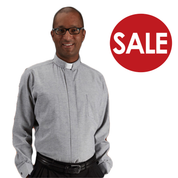 Clearance Toomey Oxford Clergy Shirt with Tab Collar and Long Sleeves with 60 percent Cotton and 40 percent polyester available in heather blue and grey