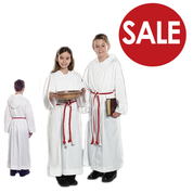 Clearance - Toomey White Monastic Alb with Hood and Snap Closures for Altar Server TO650