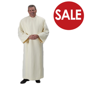 Clearance - Liturgical Front Wrap Alb in Ivory 100% Polyester TO844CL
