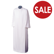 Clearance - Liturgical Front Wrap Alb  White Poplin Polyester Blend TO78CL