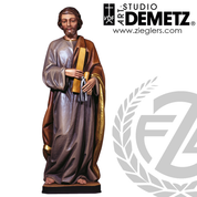 Saint Joseph Statue in Linden Wood or fiberglass measuring 30 36 42 48 60 or 72 Inches in choice of white marble bronze Color Natural or Stain finish from Italy DM34037