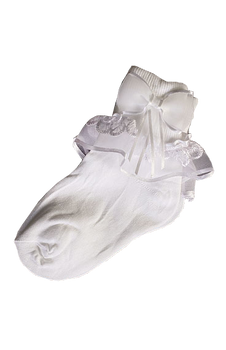Socks with Embroidered Ruffles and Bow First Communion 3 Sizes AGSC9027