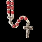 First Communion Rosary Oval Fuschia Pink Beads Chalice Center DA1067A61STCOM
