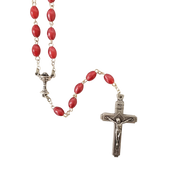 First Communion Rosary Oval Fuschia Pink Beads Chalice Center DA1067A61STCOM