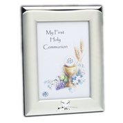 First Communion Photo Frame Brushed Silver Plated Eucharist Design Style DV13128