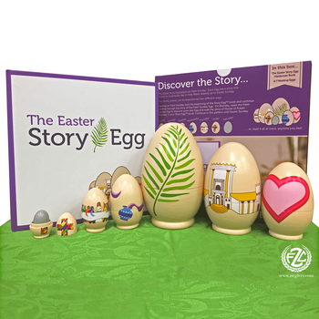 The Easter Story nesting Eggs with activity story Book for holy week and Easter measures 8 and 1 half by 4 and 1 half by 8 and 1 half inches SFAEASTER