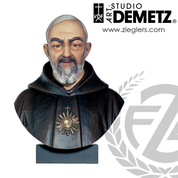 Saint Padre Pio bust in hand carved linden wood measures 24 inches with choice of natural stain or color finish Crafted In Italy DM60088C